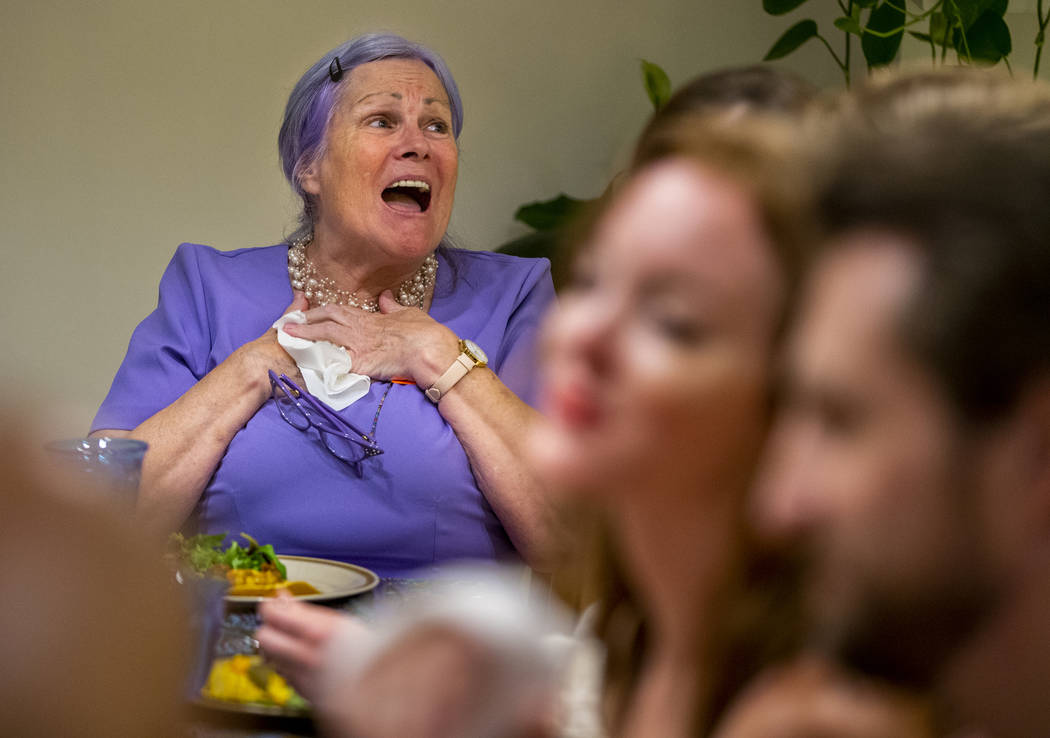 Ginny, played by Ginny Beall, enjoys a laugh as the matriarch of the group during the Oakey Fam ...