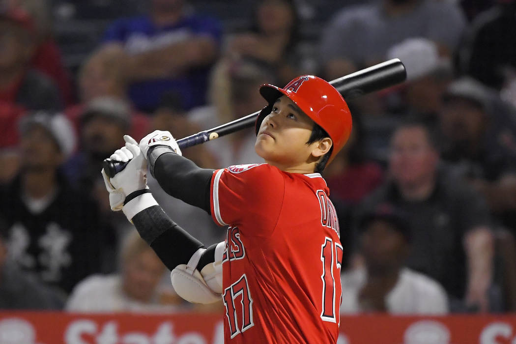 Los Angeles Angels' Shohei Ohtani flies out during the first inning of the team's baseball game ...