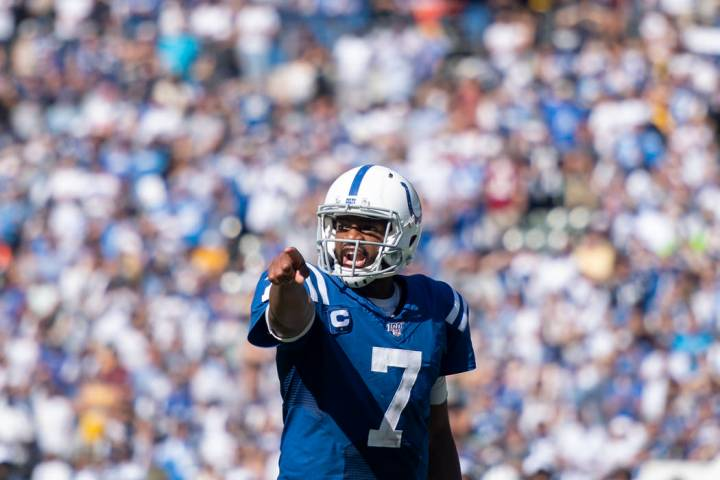 Indianapolis Colts quarterback Jacoby Brissett during an NFL football game against the Los Ange ...