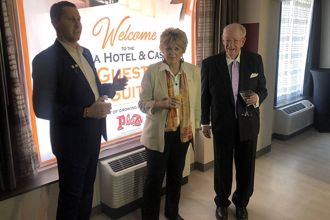 Plaza Chief Executive Officer Jonathan Jossel is shown with Las Vegas Mayor Carolyn Goodman and ...