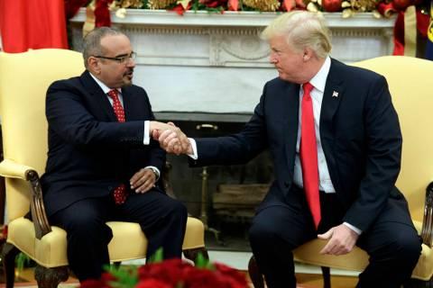 FILE--President Donald Trump meets with Bahrain's Crown Prince Salman bin Hamad Al Khalifa in t ...