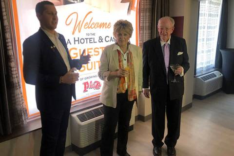 Plaza Chief Executive Officer Jonathan Jossel is shown with Las Vegas Mayor Carolyn Goodman and ...