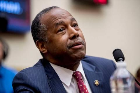 FILE--Housing and Urban Development Secretary Ben Carson testifies at a House Financial Service ...