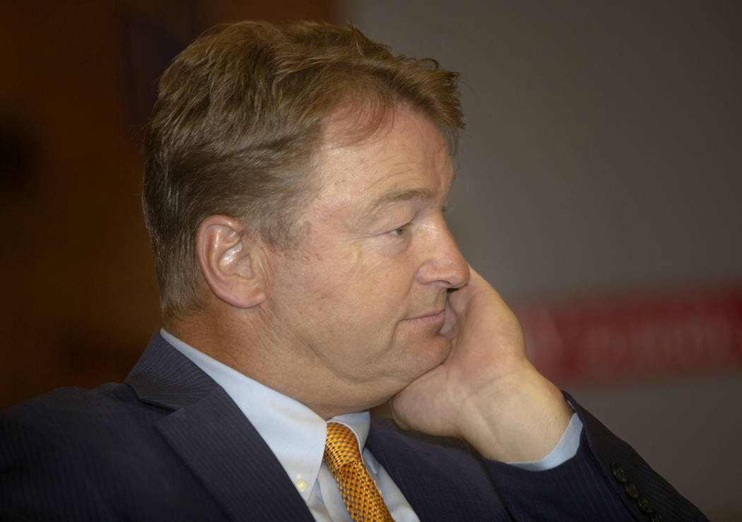 Former U.S. Sen. Dean Heller listens during the Nevada Senators Panel at UNLV, Thursday, Sept. ...