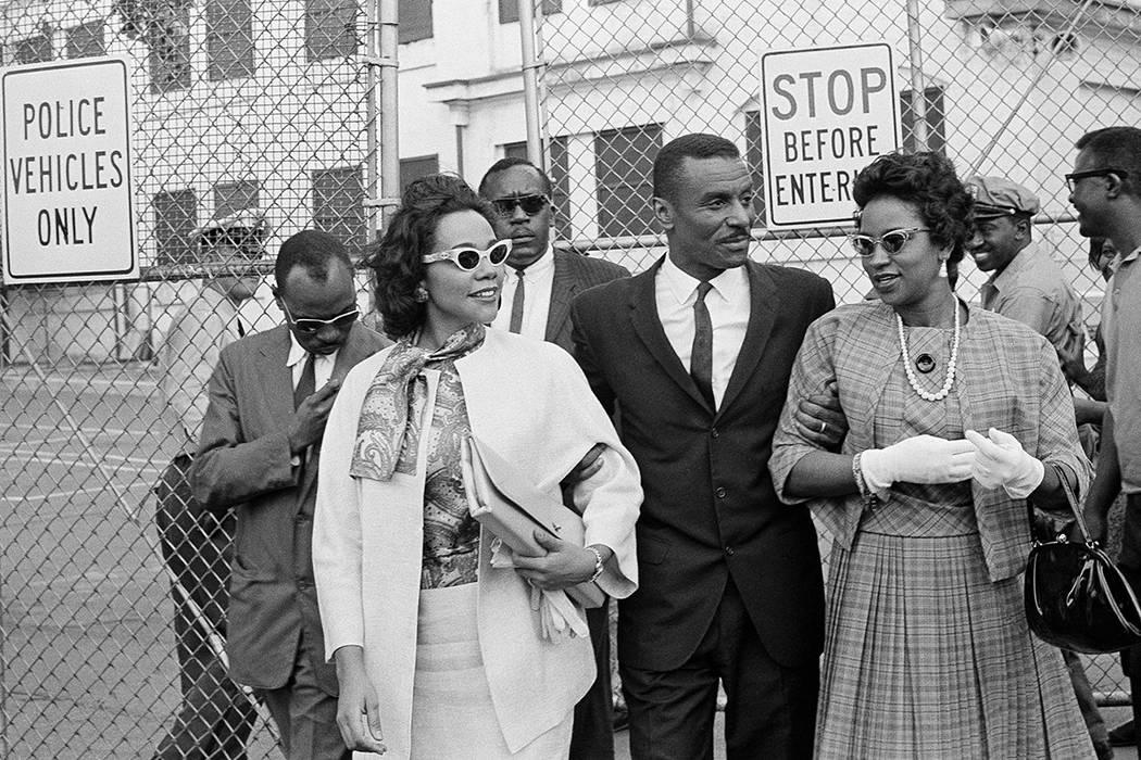 FILE - In this April 18, 1963 file photo, Coretta Scott King Jr., left, the Rev. Fred L. Shutt ...