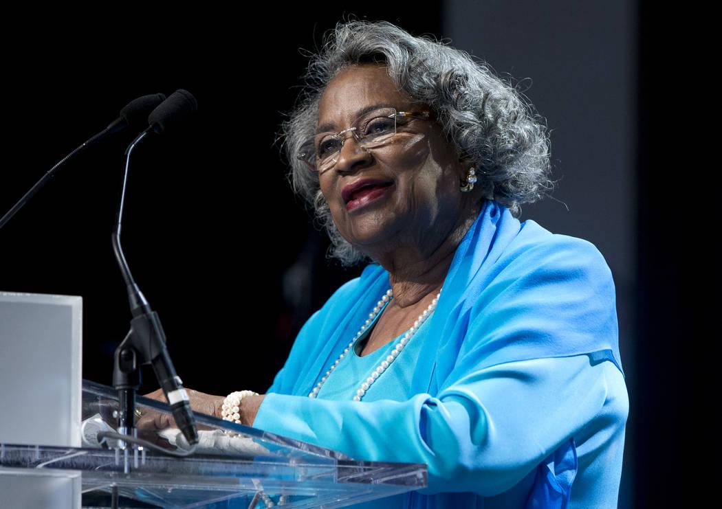 FILE - In this Saturday, Sept. 19, 2015 file photo, Civil rights activist Juanita Abernathy spe ...