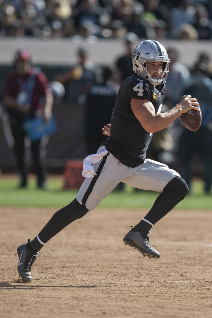 Oakland Raiders quarterback Derek Carr during an NFL football game against the Kansas City Chie ...