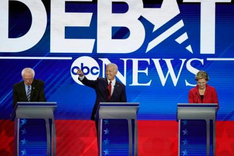 From left, presidential candidates Sen. Bernie Sanders, I-Vt, former Vice President Joe Biden a ...