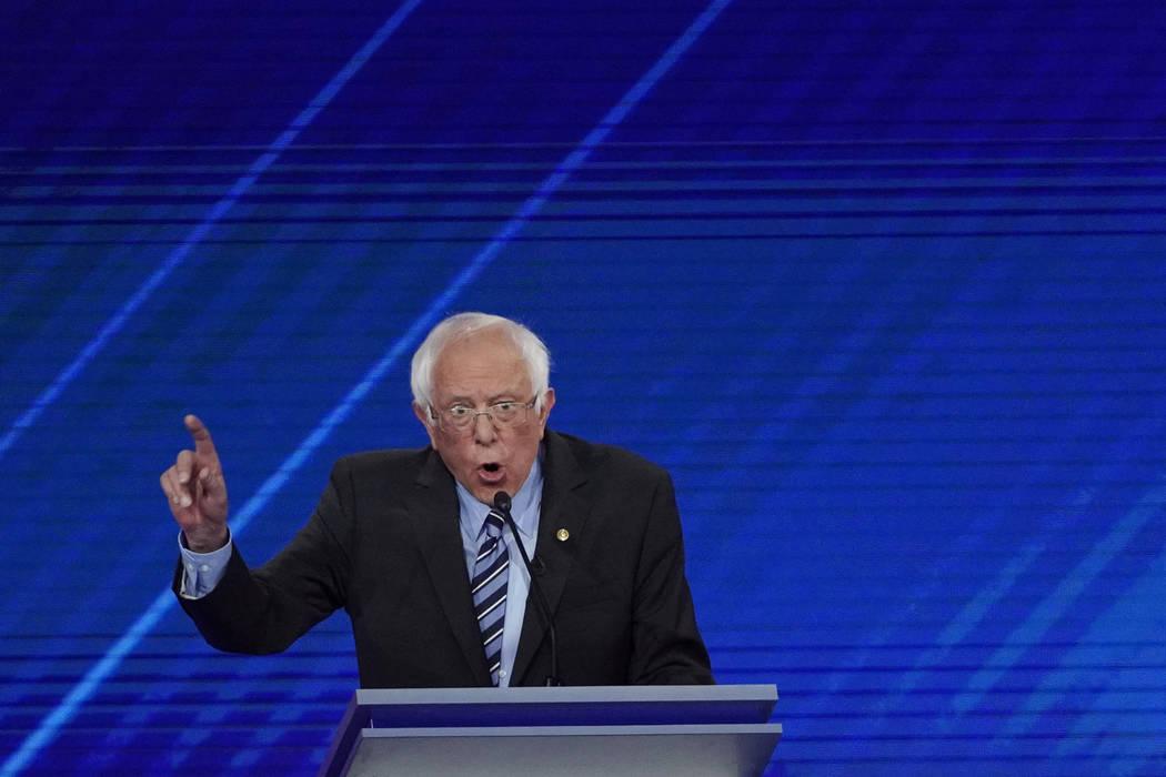 Democratic presidential candidate Sen. Bernie Sanders, I-Vt., answers a question Thursday, Sept ...