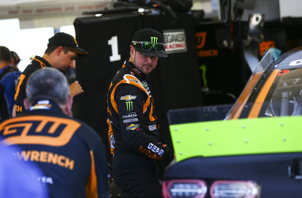 Kurt Busch prepares for qualifying for the Monster Energy NASCAR Cup Series South Point 400 aut ...