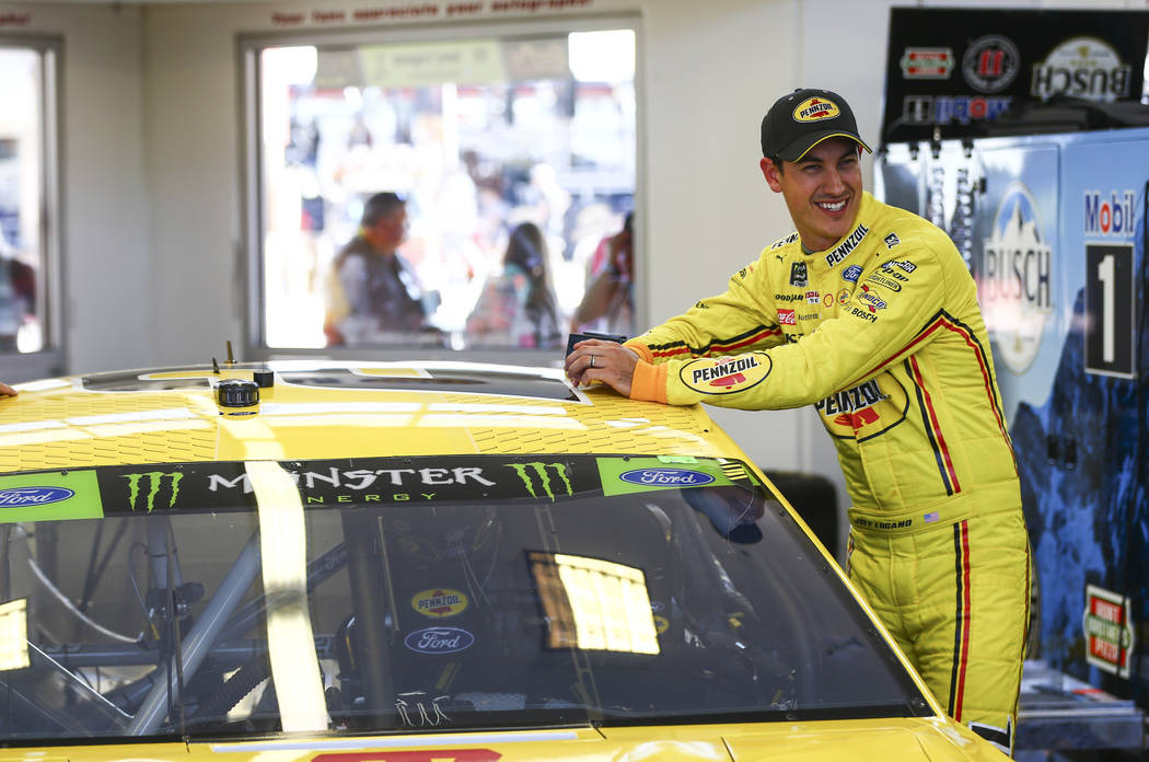 Joey Logano prepares for qualifying for the Monster Energy NASCAR Cup Series South Point 400 au ...