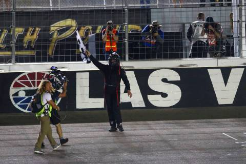 Austin Hill celebrates his win at the NASCAR World of Westgate 200 Truck Series auto race at th ...