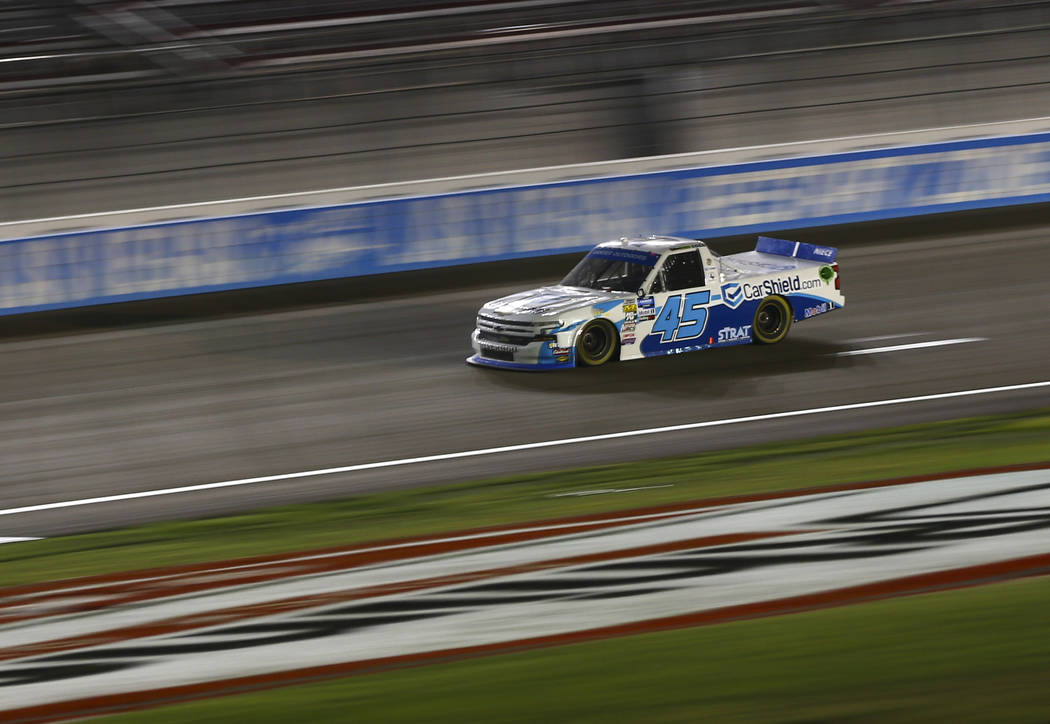 Ross Chastain drives during the NASCAR World of Westgate 200 Truck Series auto race at the Las ...