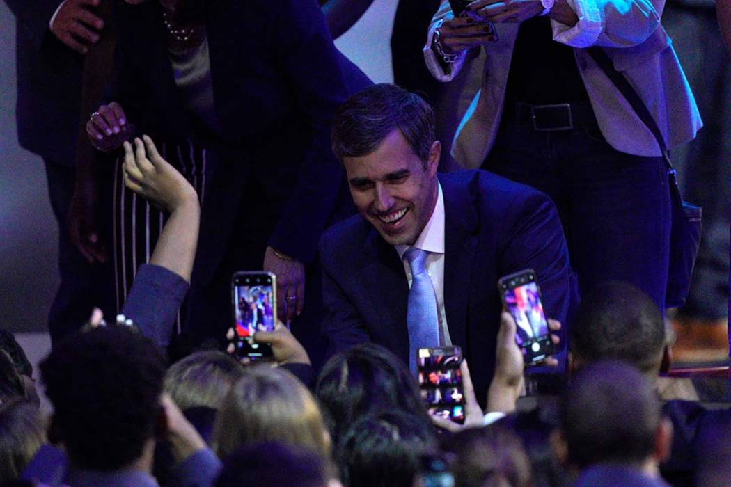 Democratic presidential candidate former Texas Rep. Beto O'Rourke greets supporters Thursday, S ...