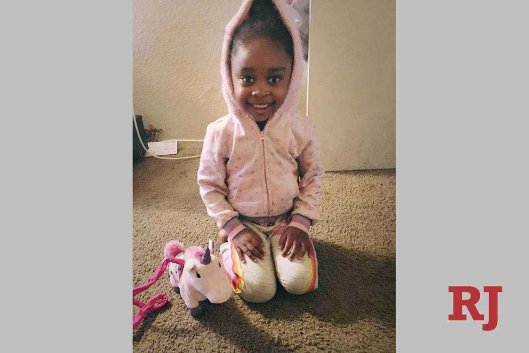 An undated photo of Janiyah Russell, 5, who died on Sept. 11, 2019, in Las Vegas. Her father's ...