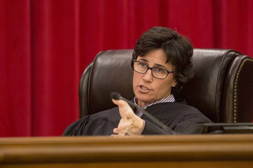 Nevada Supreme Court Justice Lidia Stiglich asks a questions during the first arguments for the ...