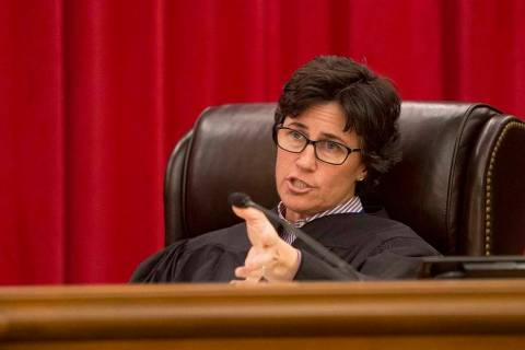 Nevada Supreme Court Justice Lidia Stiglich asks a question during arguments in Las Vegas on Ja ...