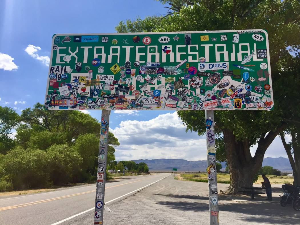 The Extraterrestrial Highway marker where state Route 318 splits off from state Route 375 near ...