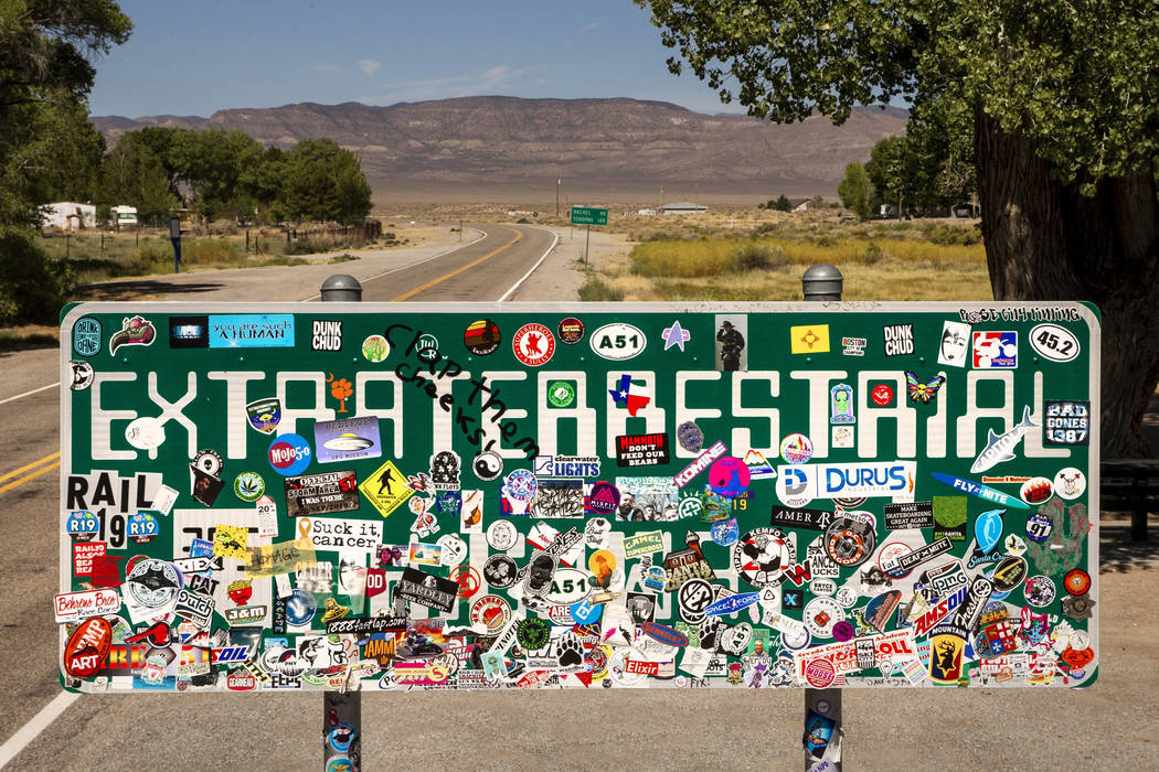The Extraterrestrial Highway sign along state Route 375 near Crystal Springs pictured on Tuesda ...