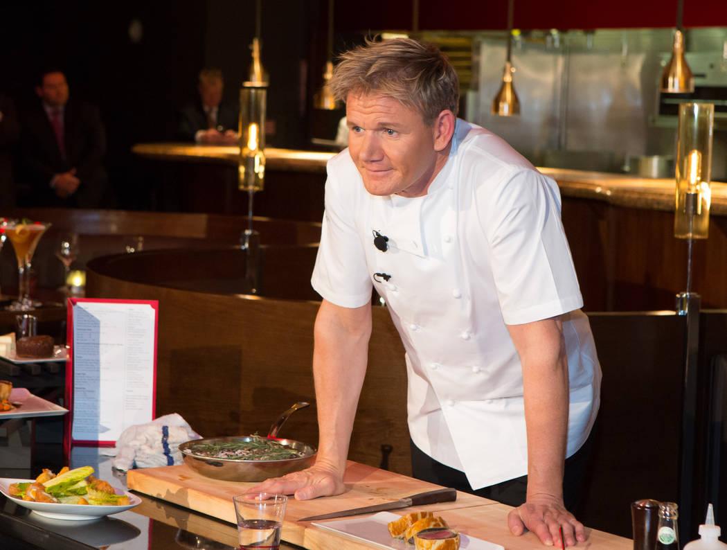 Chef Gordon Ramsay at the Gordon Ramsay cooking demonstration and press conference at Gordon Ra ...