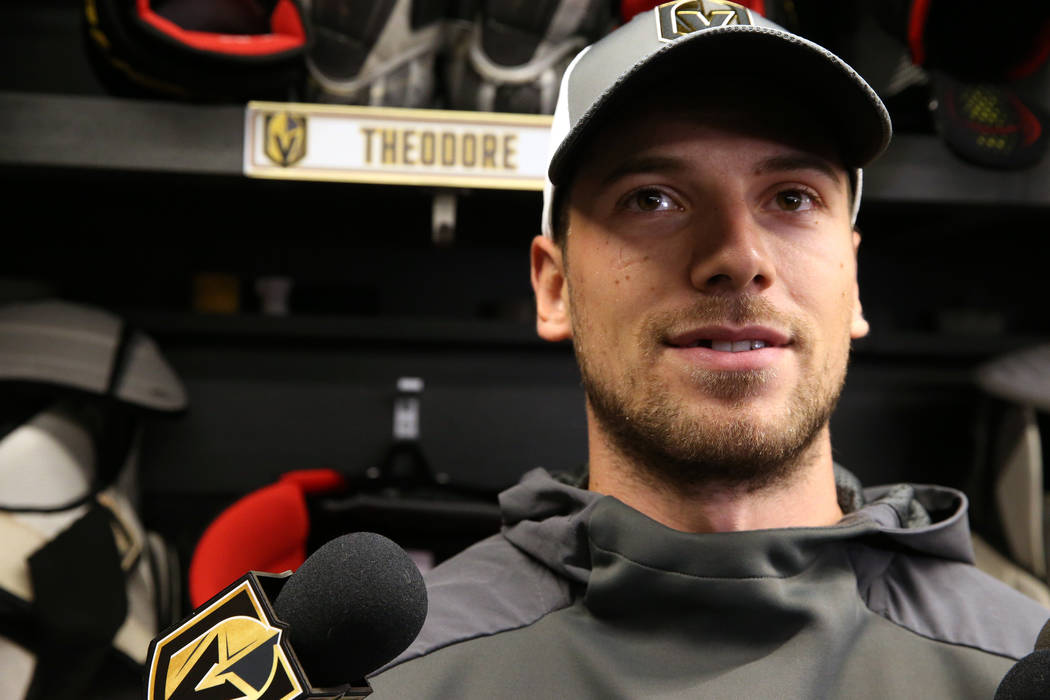 Vegas Golden Knights defenseman Shea Theodore (27) speaks to reporters at City National Arena i ...