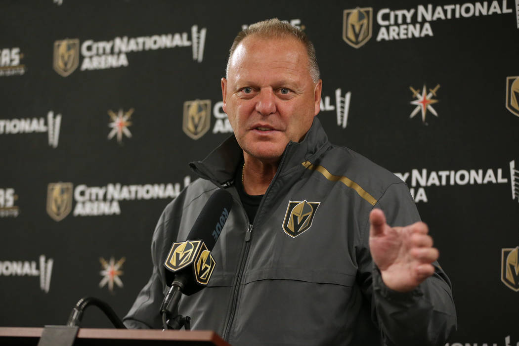 Vegas Golden Knights head coach Gerard Gallant speaks to reporters at City National Arena in La ...