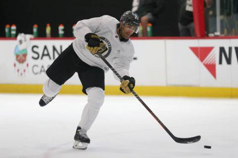 Vegas Golden Knights left wing Max Pacioretty (67) shoots the puck during a team practice at Ci ...