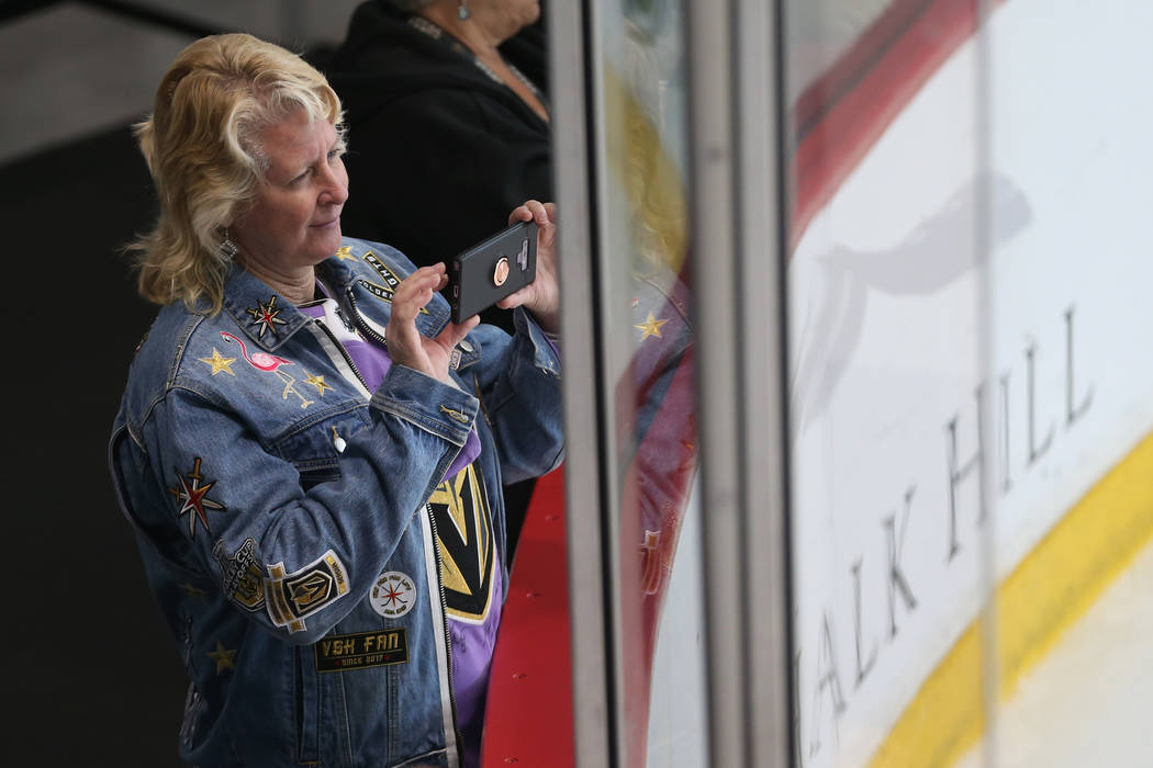 Laurie Woods watches a Vegas Golden Knights team practice at City National Arena in Las Vegas, ...