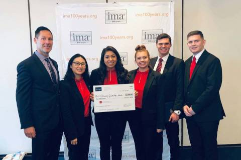 Coach Danny Siciliano and the UNLV team at the IMA Student Case Study Competition: Annie Lu, In ...