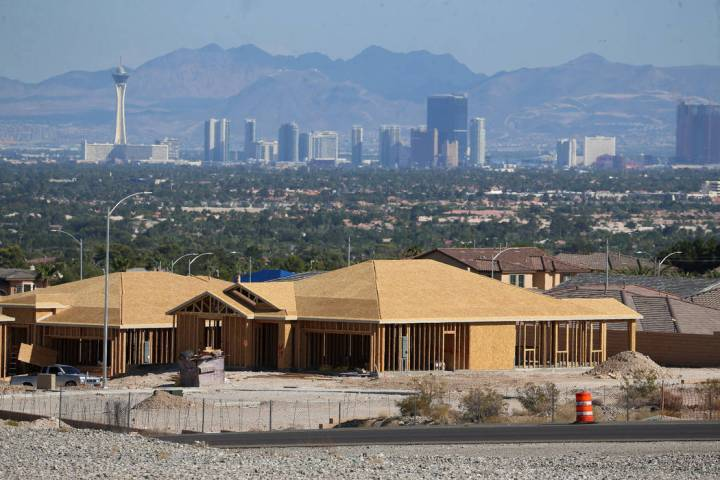 Homes under construction near Hualapai Way and the 215 Beltway in Las Vegas, Tuesday, Aug. 27, ...