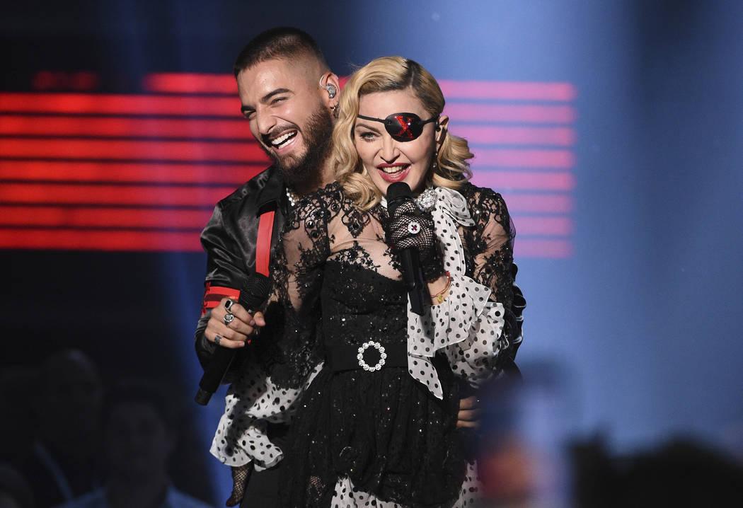 "Maluma, left, and Madonna perform ""Medellin"" at the Billboard Music Awards on Wednesd ..."