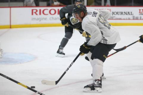 Vegas Golden Knights defenseman Nate Schmidt (88) looks to make a play during a team scrimmage ...