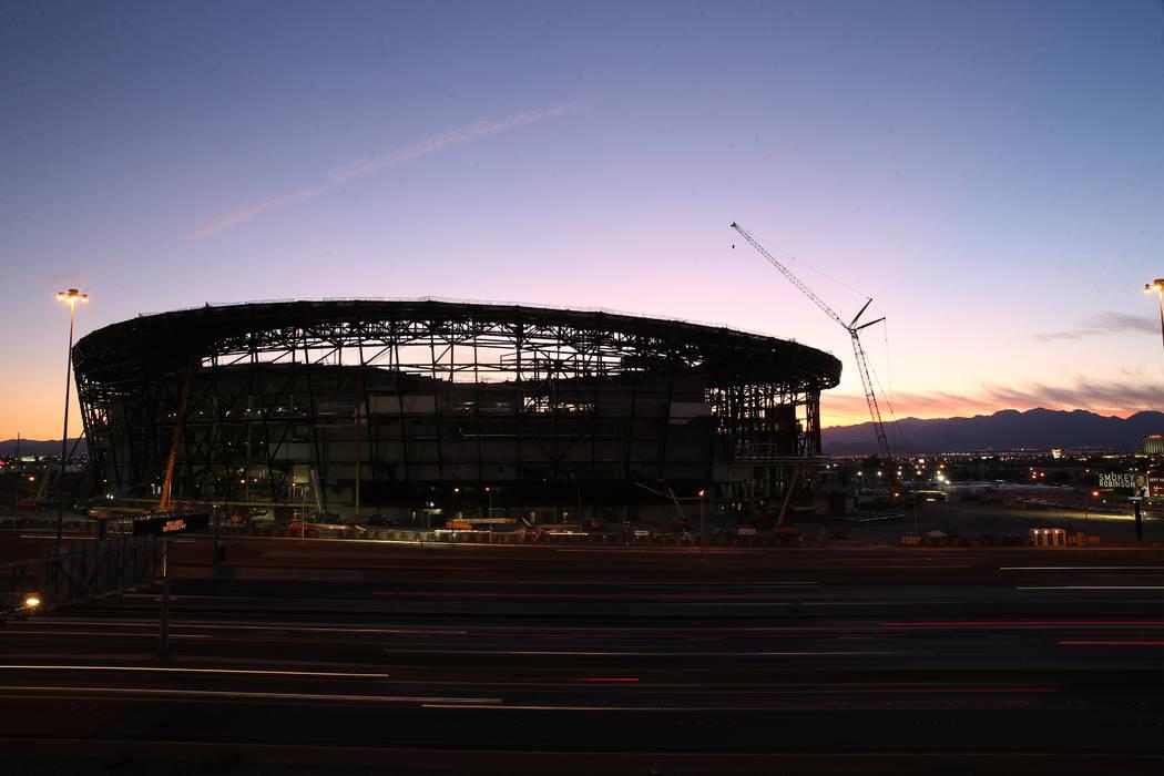 Allegiant Stadium during sunset in Las Vegas, Saturday, Sept. 7, 2019. (Erik Verduzco / Las Veg ...