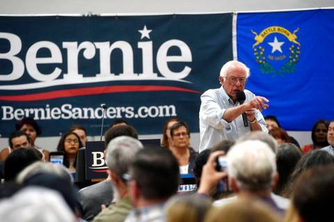 Democratic presidential candidate Sen. Bernie Sanders speaks during a campaign stop at the Cars ...