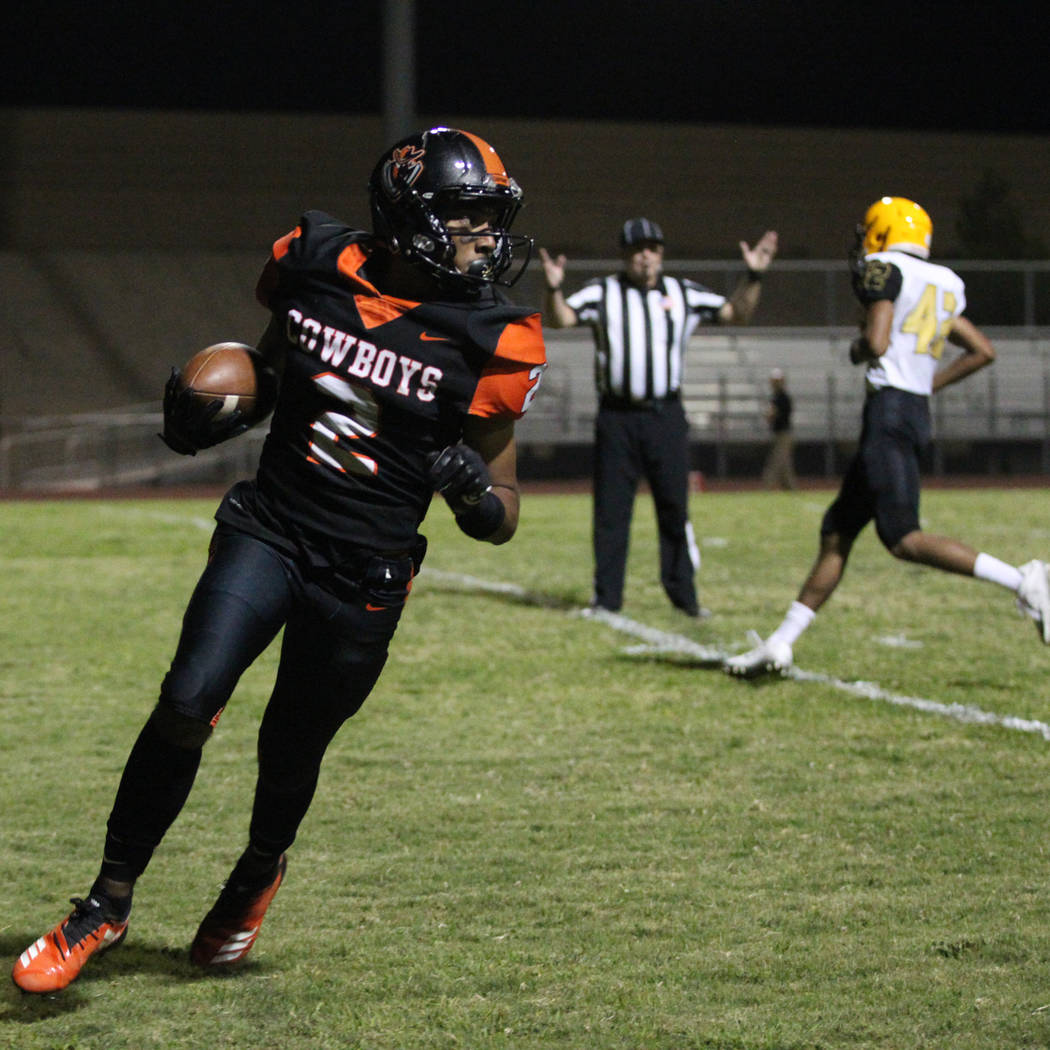 Chaparral's Jesus Casamayor (2) scores a touchdown after a catch in the second quarter against ...