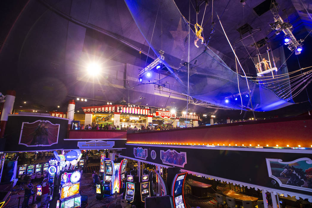 The Flying Poemas perform at the carnival midway above the casino floor at Circus Circus in Las ...