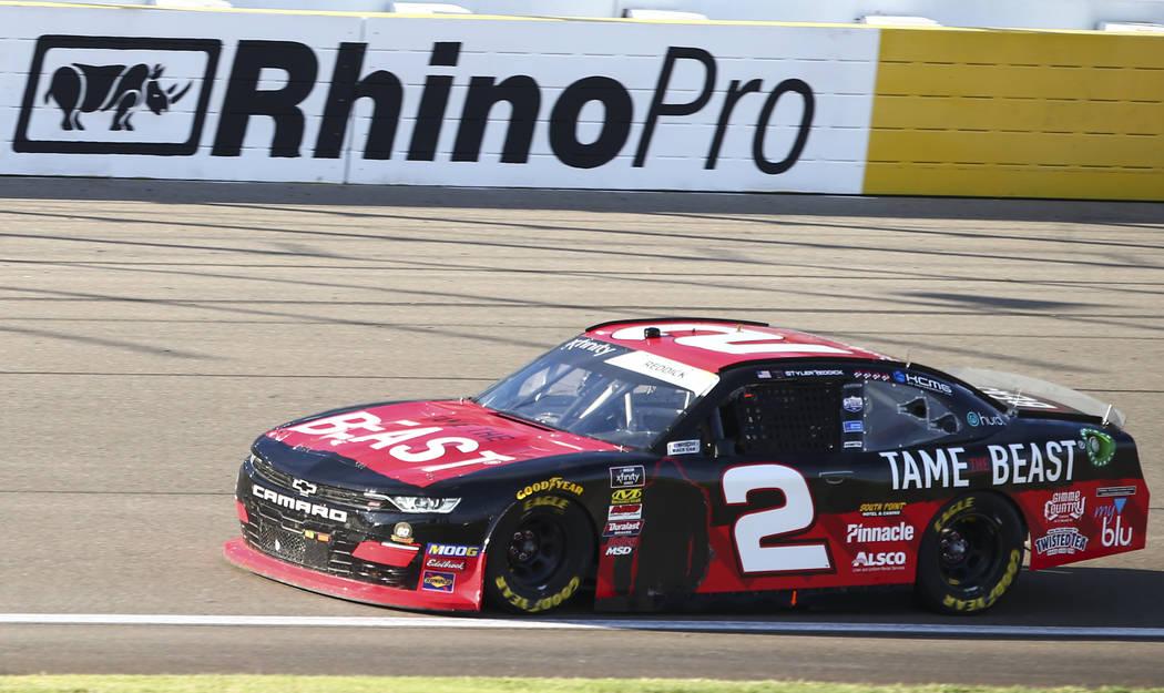 Tyler Reddick drives during a NASCAR Xfinity Series auto race at the Las Vegas Motor Speedway o ...