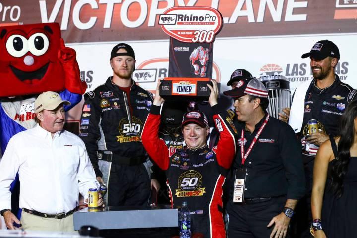 Tyler Reddick celebrates after winning the NASCAR Xfinity Series auto race at Las Vegas Motor S ...