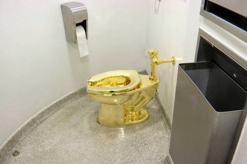 "This Sept. 16, 2016 file image made from a video shows the 18-karat toilet, titled ""America,"" b ..."