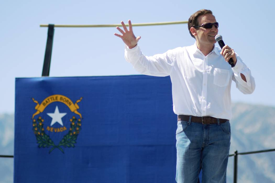Former Nevada Attorney General Adam Laxalt speaks at the 5th annual Basque Fry at the Corley Ra ...