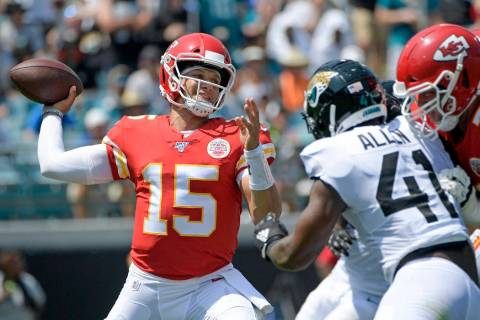 FILE - In this Sunday, Sept. 8, 2019, file photo, Kansas City Chiefs quarterback Patrick Mahome ...