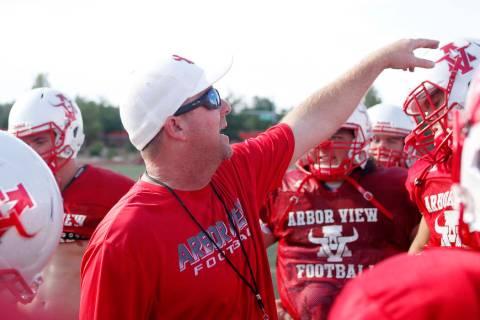 Arbor View varsity football head coach Matt Gerber during practice at Arbor View High School in ...
