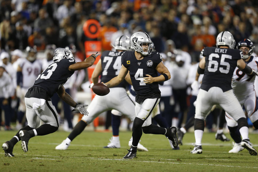 Oakland Raiders quarterback Derek Carr during the second half of an NFL football game against t ...