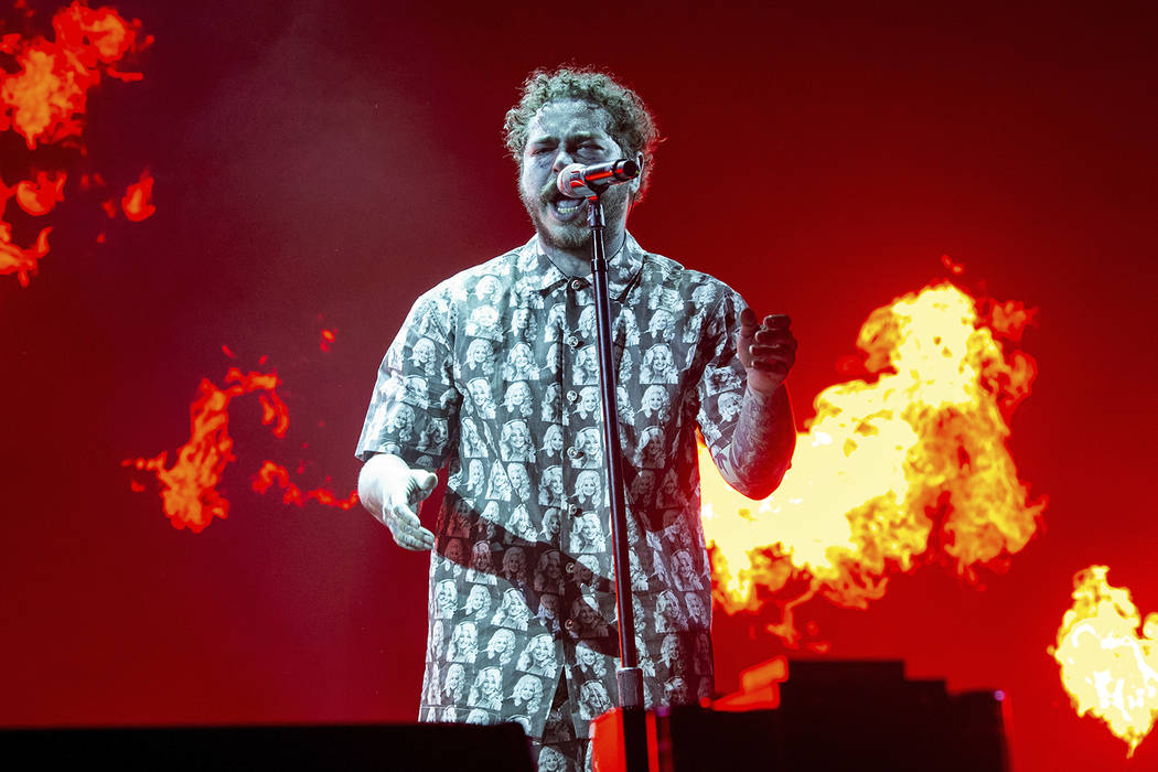 Post Malone performs at the Bonnaroo Music and Arts Festival on Saturday, June 15, 2019, in Man ...
