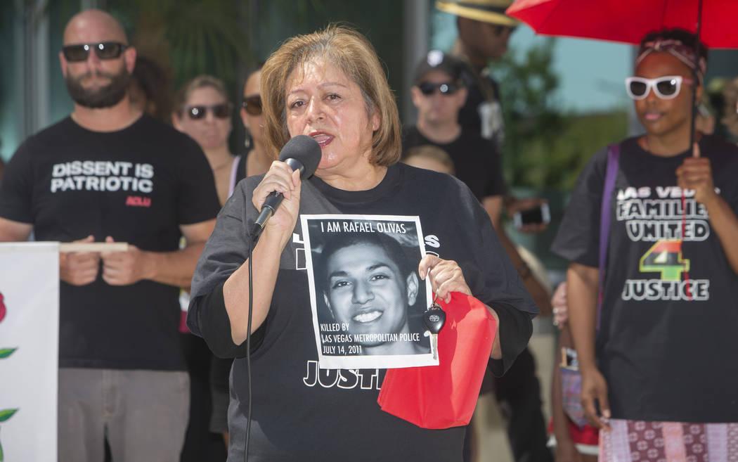 Alma Chavez, whose son, Rafael Olivas, was shot by Las Vegas police officers in 2011, speaks du ...