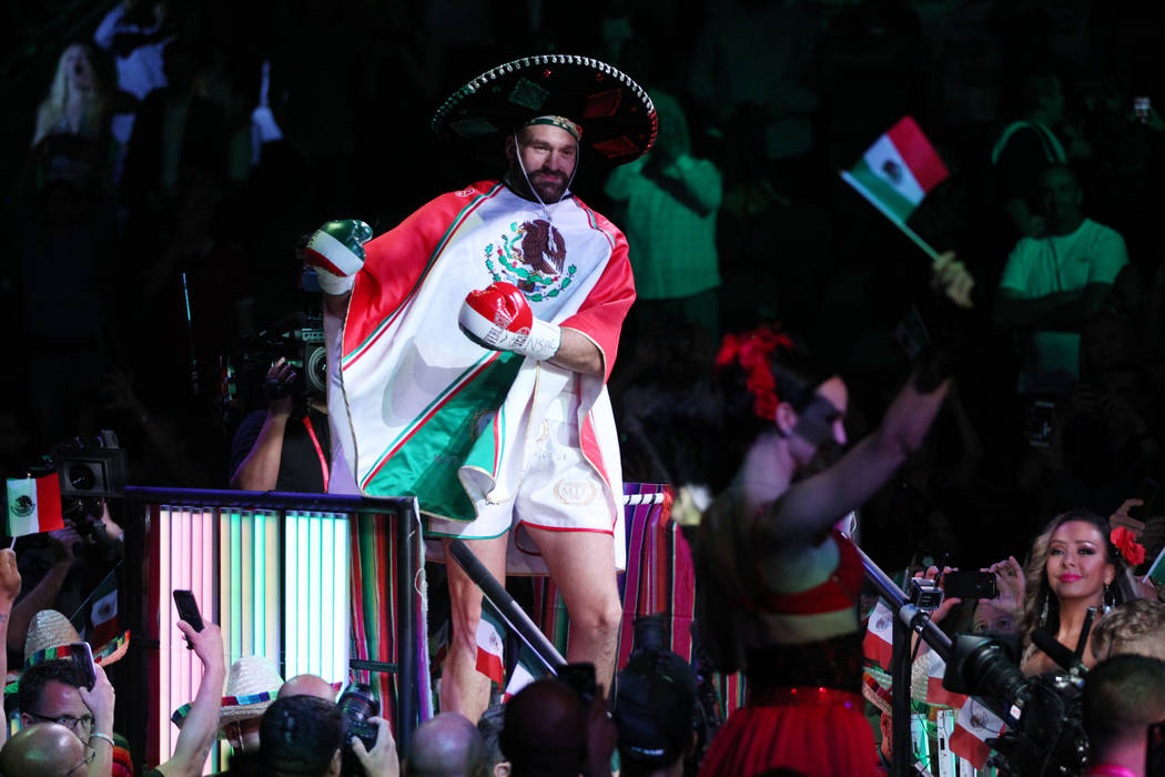 Tyson Fury during his entrance for his fight against Otto Wallin for a heavyweight bout at T-Mo ...