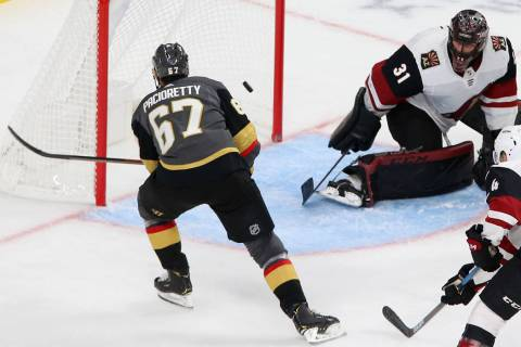 Vegas Golden Knights left wing Max Pacioretty (67) shoots for a score and a hat-trick against A ...