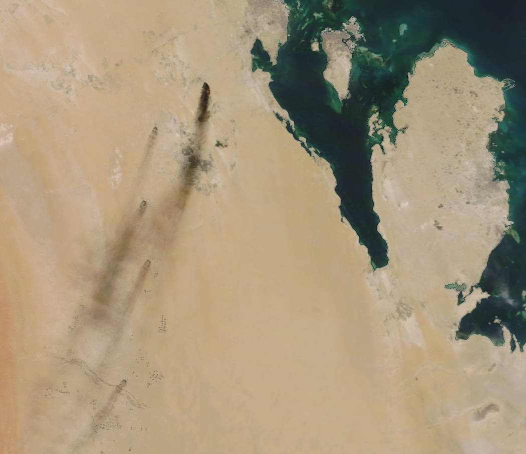 This Saturday, Sept. 14, 2019, satellite image provided by NASA Worldview shows fires following ...