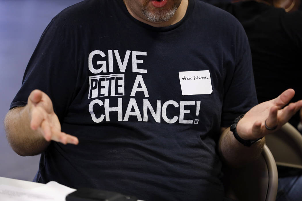 FILE - In this Aug. 29, 2019, file photo, Zach Norton, supporter for Democratic presidential ca ...