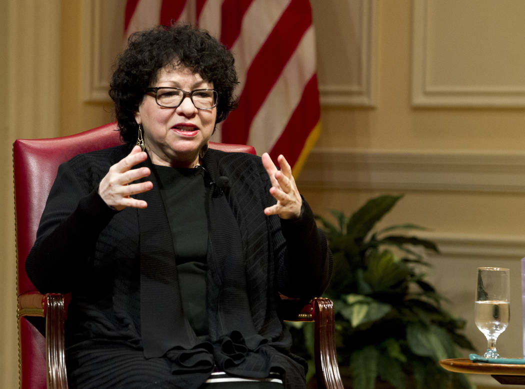 FILE- In this Feb. 14, 2019 file photo, United States Supreme Court Justice Sonia Sotomayor spe ...